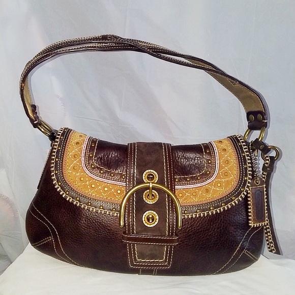 5c712494de Coach Handbags - Coach Soho Stitch Suede   Pebble Leather Bag